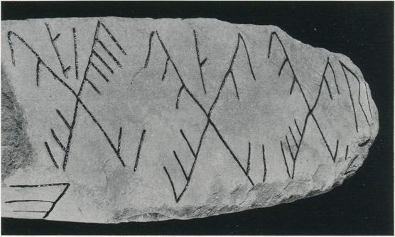 "The crosses on the top of the Rök stone form a numerical cipher which depends on the division of the futhark into ""families""."