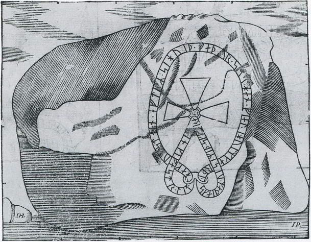 This boulder at Esta in Södermanland is now badly damaged by weathering, but the text can be restored with the help of this drawing from the seventeenth century.